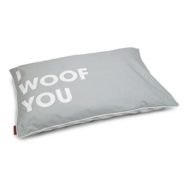 Hondenkussen woof you grijs